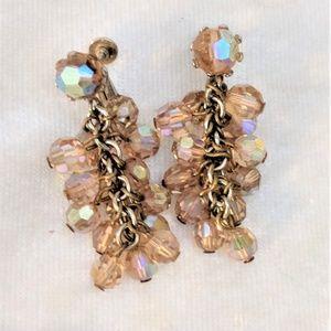 Jewelry - Vintage Aurora Borealis Beaded Clip On Earrings